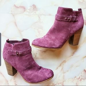 Franco Sarto Lexi Burgundy Suede Ankle Boots